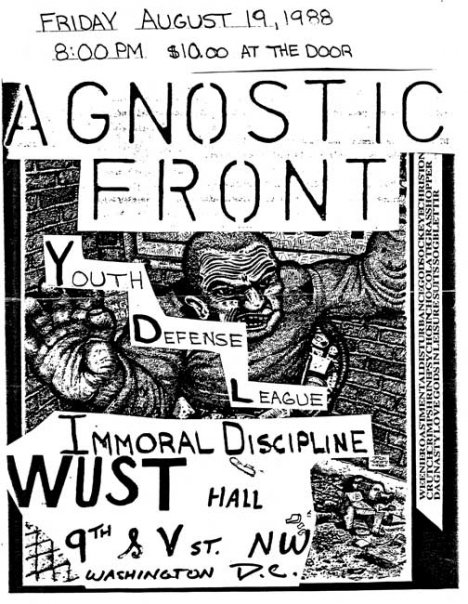Agnostic Front-Youth Defense League-Immoral Discipline @ Washington DC 8-19-88