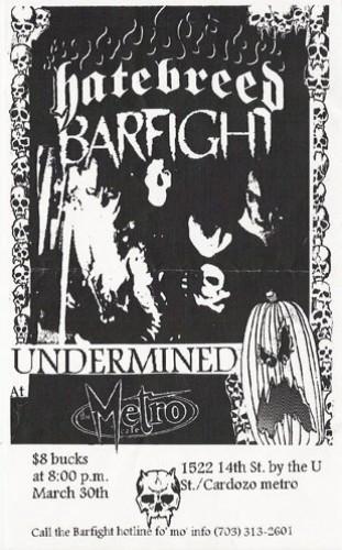 Hatebreed-Bar Fight-Undermined @ Richmond VA 3-30-98