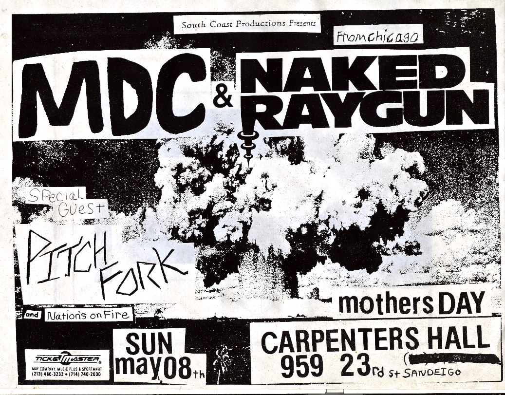 MDC-Naked Raygun-Pitch Fork-Nations On Fire @ San Diego CA 5-8-88