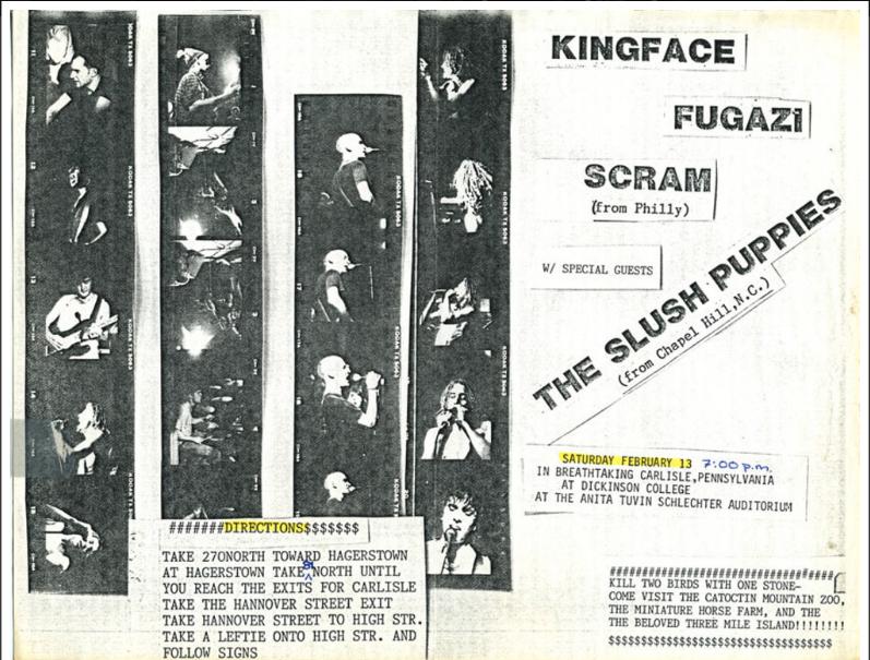 Kingface-Fugazi-Scram-The Slush Puppies @ Carlisle PA 2-13-88