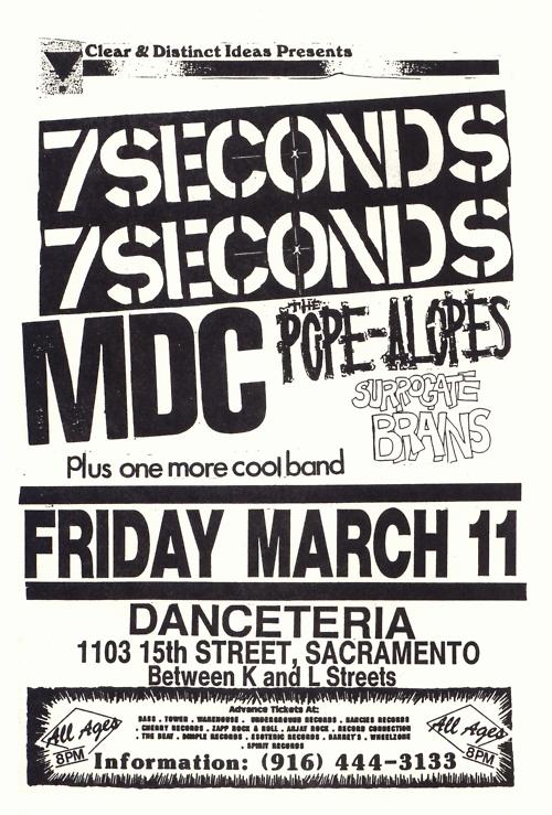7 Seconds-MDC-Pope Alopes-Surrogate Brains @ Sacramento CA 3-11-88