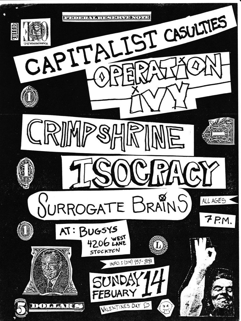 Capitalist Casualties-Operation Ivy-Crimpshrine-Isocracy-Surrogate Brains @ Stockton CA 2-14-88