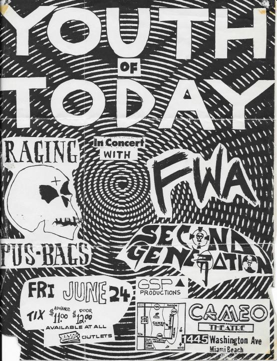 Youth Of Today-Raging Pusbags-Second Generation @ Miami FL 6-24-88