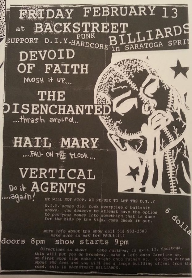 Devoid Of Faith-The Disenchanted-Hail Mary-Vertical Agents @ Saratoga Springs NY 2-13-98