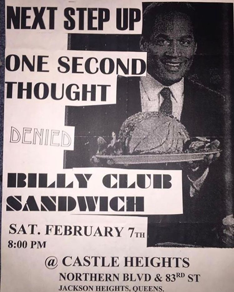 Next Step Up-One Second Thought-Denied-Billy Club Sandwich @ New York City NY 2-7-98