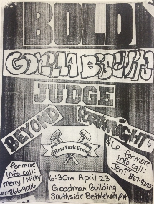 Bold-Gorilla Biscuits-Judge-Beyond-Forthright @ Bethlehem PA 4-23-88