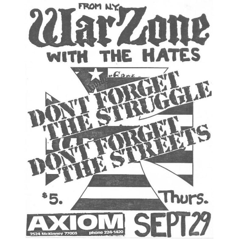 War Zone-The Hates @ Houston TX 9-29-88