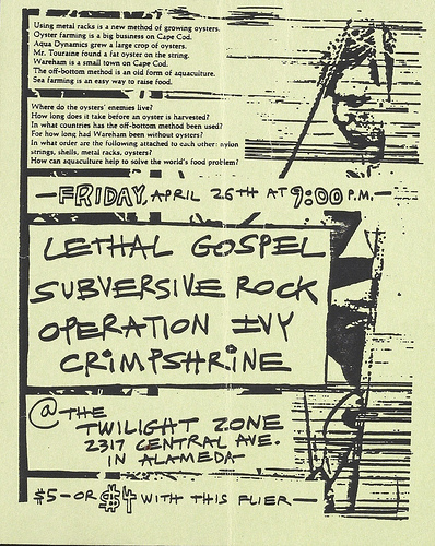Lethal Gospel-Subversive Rock-Operation Ivy-Crimpshrine @ Alameda CA 4-26-88