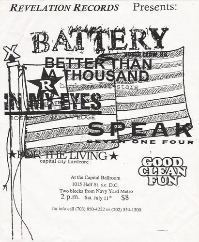 Battery-Better Than A Thousand-In My Eyes-Speak 714-For The Living-Good Clean Fun @ Washington DC 7-11-98