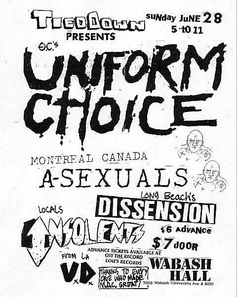 Uniform Choice-Asexuals-Dissension-Insolents-Visual Discrimination @ San Diego CA 6-28-87