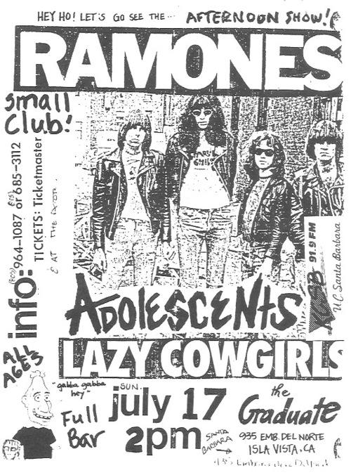 Ramones-Adolescents-Lazy Cowgirls @ Isla Vista CA 7-17-88