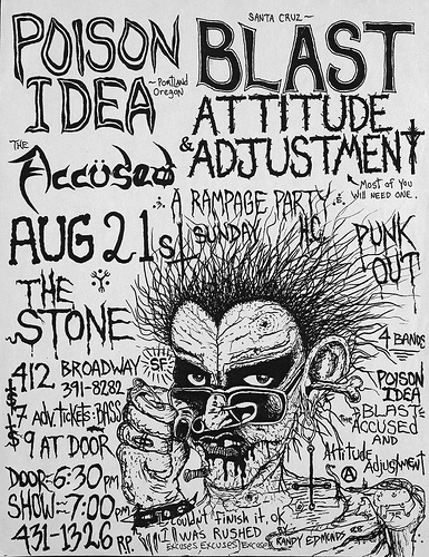 Poison Idea-Bl'ast!-The Accused-Attitude Adjustment-Rampage Party @ San Francisco CA 8-21-88