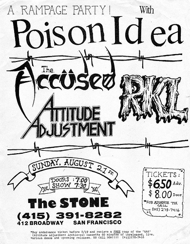 Poison Idea-The Accused-RKL-Attitude Adjustment @ San Francisco CA 8-21-88