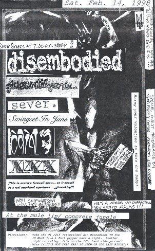 Disembodied-Give Until Gone-Sever-Swing Set In June @ Long Island NY 2-14-98