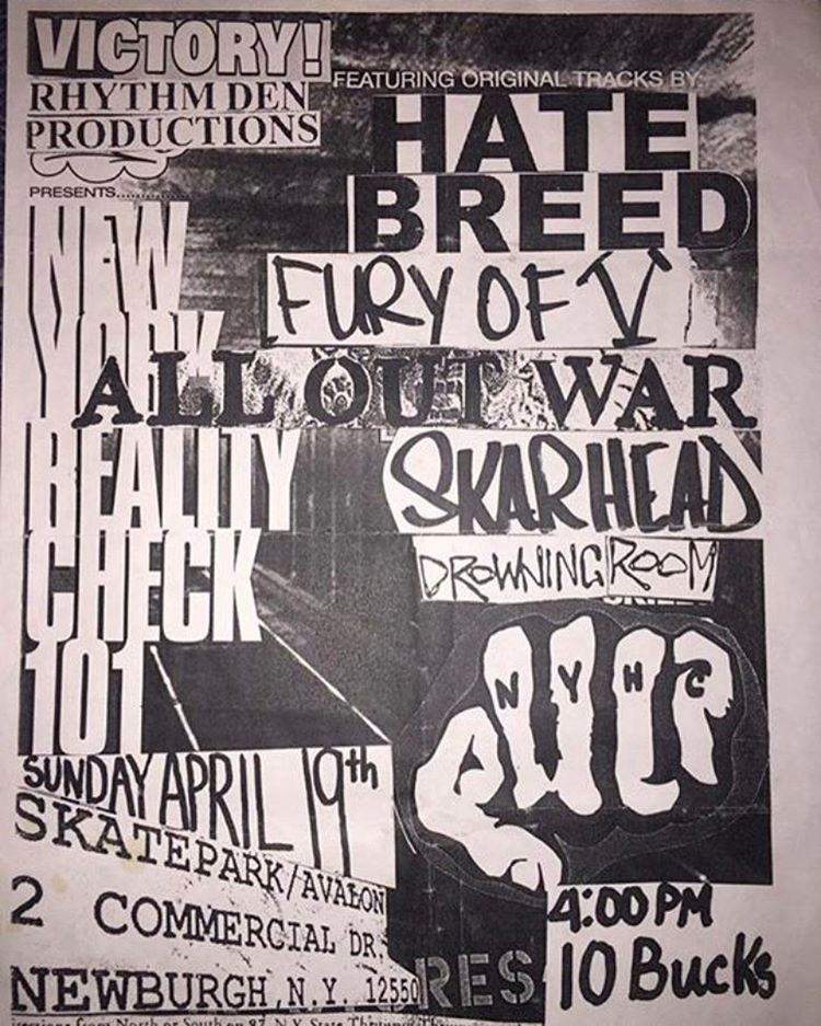 Hatebreed-Fury Of V-All Out War-Skarhead-Drowning Room @ Newburgh NY 4-19-98