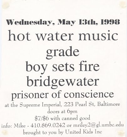 Hot Water Music-Grade-Boy Sets Fire-Bridgewater-Prisoner Of Conscience @ Baltimore MD 5-13-98