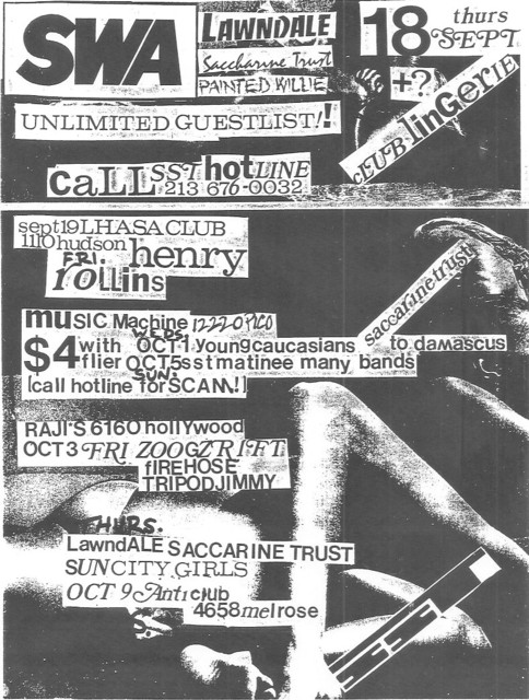 Lawndale-Saccharine Trust-Sun City Girls @ Los Angeles CA 10-9-87