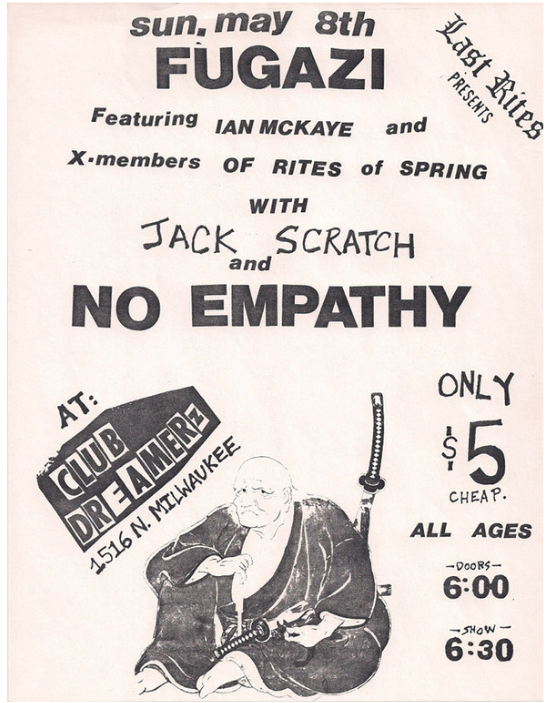 Fugazi-Jack Scratch-No Empathy @ Milwaukee WI 5-8-88