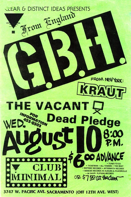 GBH-Kraut-The Vacant-Dead Pledge @ Sacramento CA 8-10-88