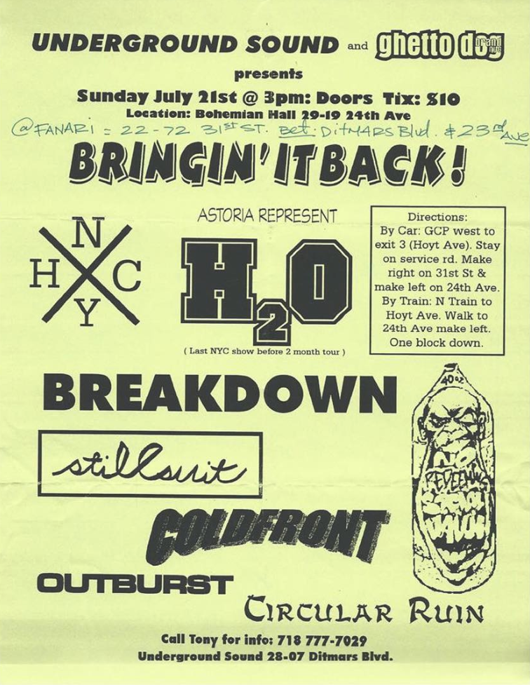 h2o-Breakdown-Stillsuit-Cold Front-Outburst-Circular Ruin @ New York City NY 7-21-98