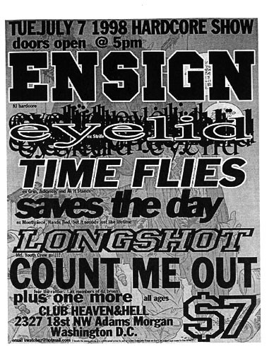 Ensign-Eyelid-Time Flies-Saves The Day-Longshot-Count Me Out @ Washington DC 7-7-98