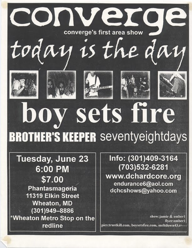 Converge-Today Is The Day-Boy Sets Fire-Brother's Keeper-Seventy Eight Days @ Wheaton MD 6-23-98
