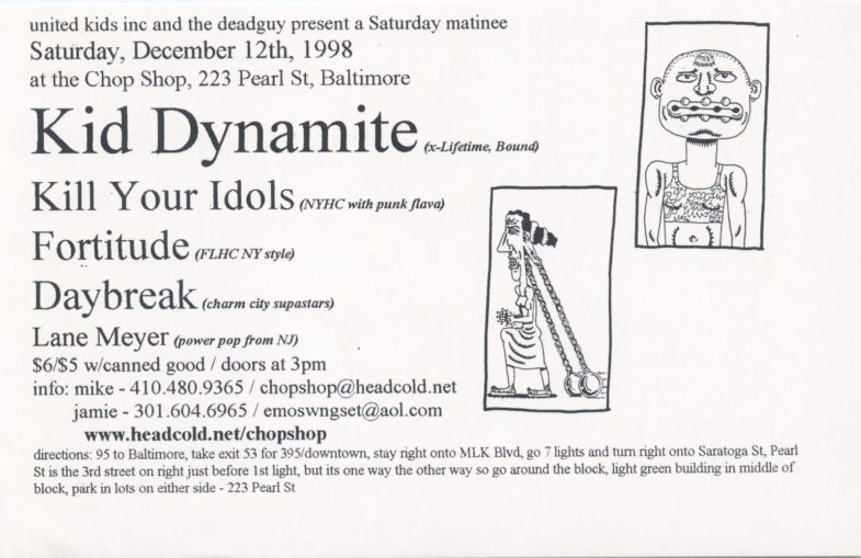 Kid Dynamite-Kill Your Idols-Fortitude-Daybreak-Lane Meyer @ Baltimore MD 12-12-98