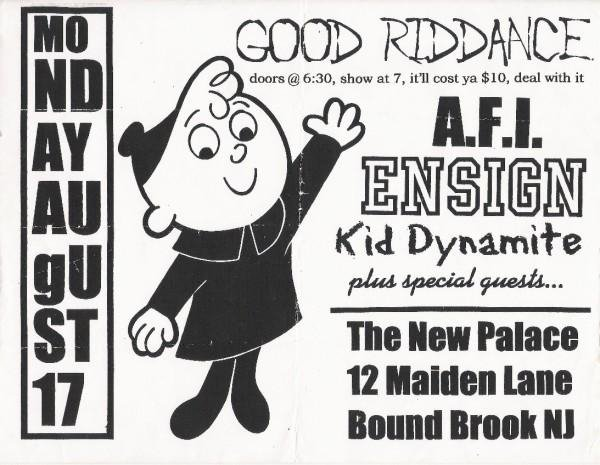 Good Riddance-AFI-Ensign-Kid Dynamite @ Bound Brook NJ 8-17-98