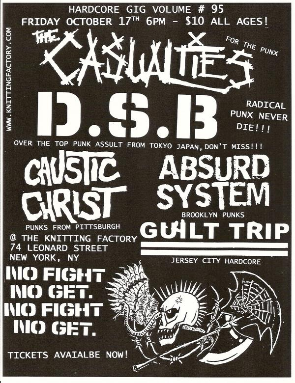 The Casualties-DSB-Caustic Christ-Absurd System-Guilt Trip @ New York City NY 10-17-08