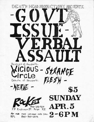 Government Issue-Verbal Assault-Vicious Circle-Strange Flesh-Nerve @ Providence RI 4-5-87