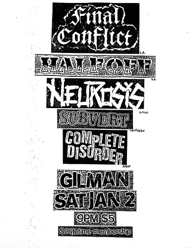 Final Conflict-Half Off-Neurosis-Subvert-Complete Disorder @ Berkeley CA 1-2-88