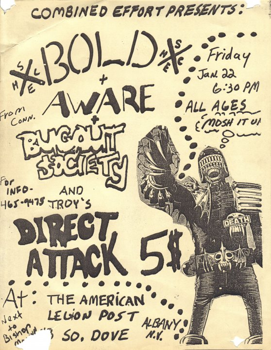 Bold-Aware-Bugout Society-Direct Attack @ Albany NY 1-22-88