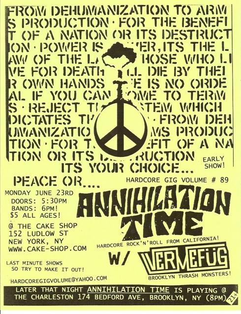 Annihilation Time-Vermefug @ New York City NY 6-23-08