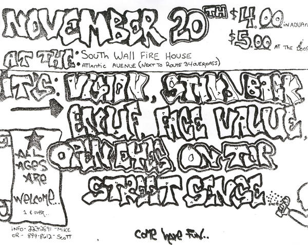 Vision-Stand Back-Enuf-Face Value-Open Eyes-On Top-Street Sense @ Wall NJ 11-20-88