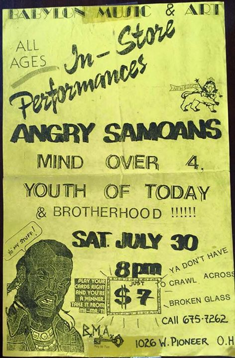 Angry Samoans-Mind Over 4-Youth Of Today-Brotherhood @ West Babylon NY 7-30-88