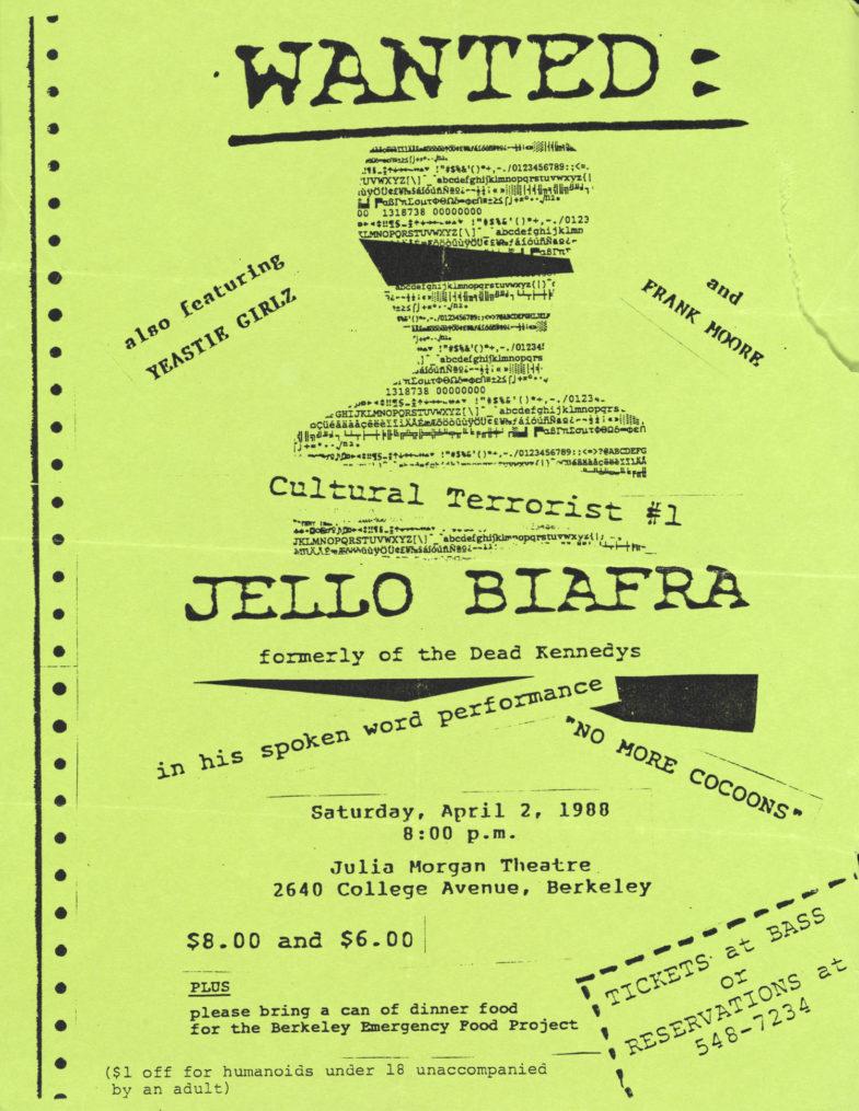 Jello Biafra-Yeastie Girlz-Frank Moore @ Berkeley CA 4-2-88