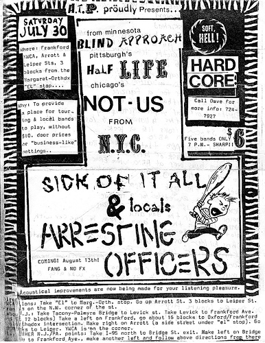 Blind Approach-Half Life-Not Us-Sick Of It All-Arresting Officers @ Philadelphia PA 7-30-88