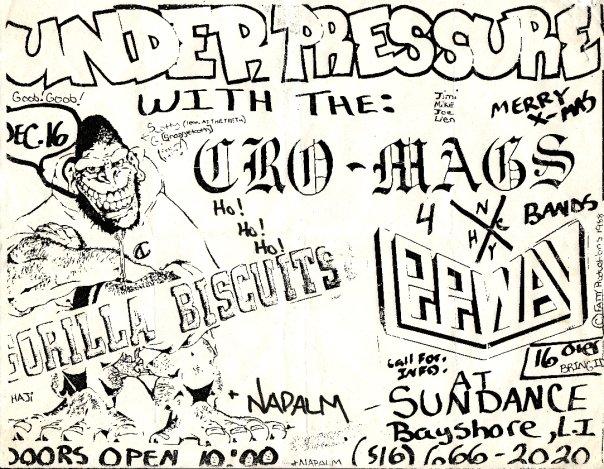 Cro Mags-Gorilla Biscuits-Leeway-Under Pressure @ Long Island NY 12-16-88