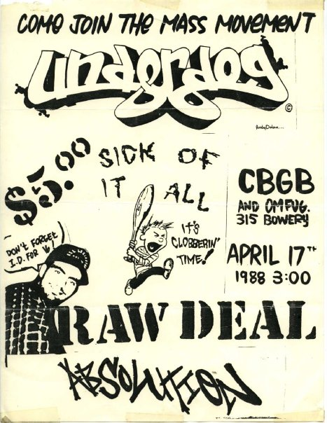 Underdog-Sick Of It All-Raw Deal-Absolution @ New York City NY 4-17-88