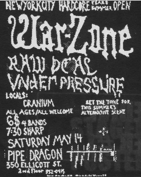 War Zone-Raw Deal-Under Pressure-Cranium @ Buffalo NY 5-14-88
