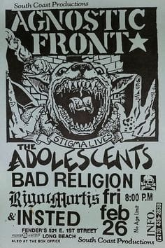Agnostic Front-Adolescents-Bad Religion-Rigor Mortis-Insted @ Long Beach CA 2-26-88