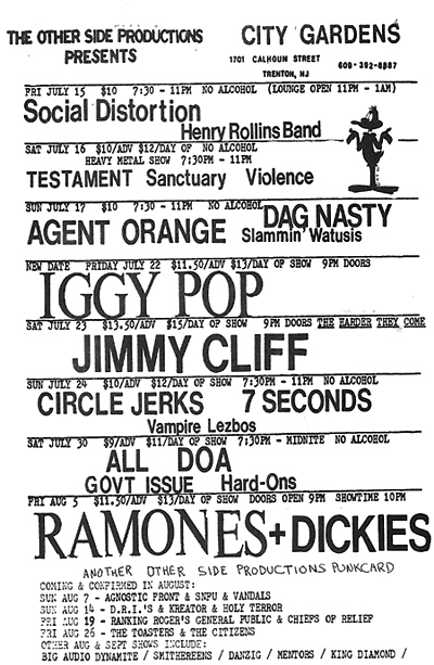 Agent Orange-Dag Nasty-Slammin' Watusis @ Trenton NJ 7-17-88