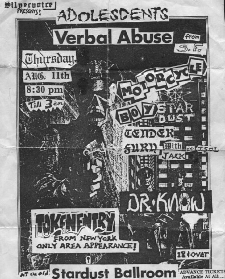 Adolescents-Verbal Abuse-Motorcylce Boy-Dr. Know-Token Entry @ Hollywood CA 8-11-88