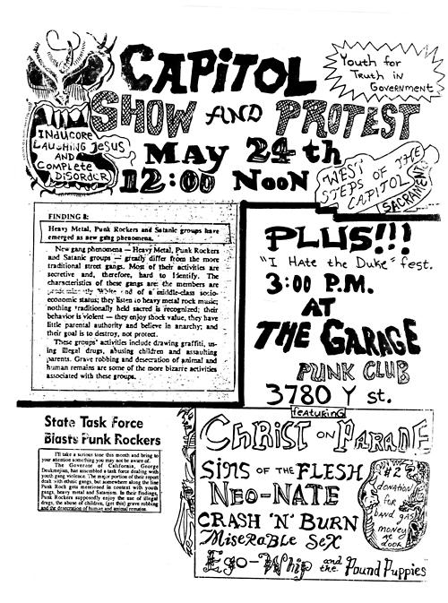Christ On Parade-Sins Of The Flesh-Neo Nate-Crash N Burn @ Berkeley CA 5-24-88