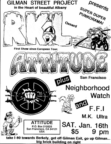 RKL-Attitude-Neighborhood Watch-MK Ultra @ Berkeley CA 1-16-88