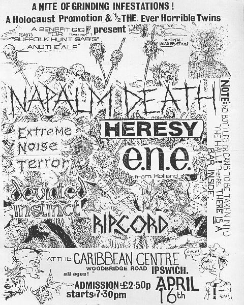 Napalm Death-Extreme Noise Terror-Heresy-Deviated Instinct-Ripcord @ Ipswich England 4-16-88