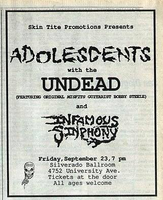 Adolescents-The Undead-Infamous Sinphony @ San Diego CA 9-23-88