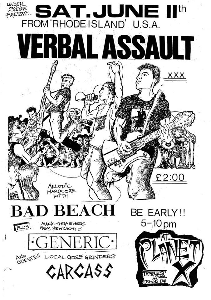 Verbal Assault-Carcass-Bad Beach-Generic @ Liverpool England 6-11-88