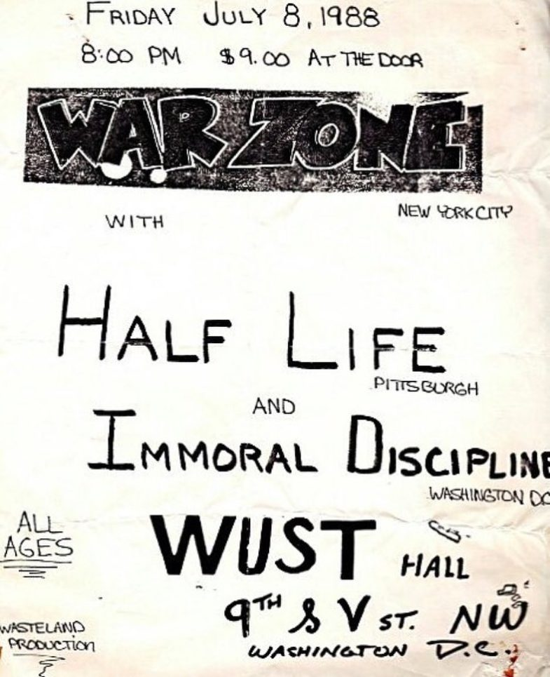 War Zone-Half Life-Immoral Discipline @ Washington DC 7-8-88
