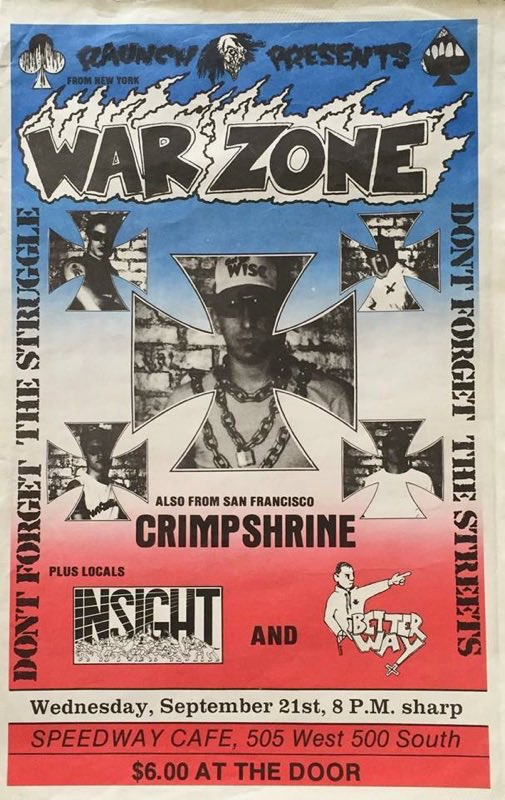 War Zone-Crimpshrine-Insight-Better Way @ Salt Lake City UT 9-21-88
